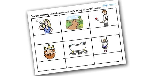 NG or TH Sound Worksheet worksheets worksheet work sheet – Th Sound Worksheets