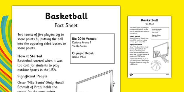 Rio 2016 Basketball Fact Sheet - rio 2016, rio olympics, 2016 olympics, basketball, fact sheet