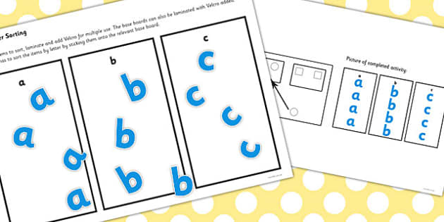Workstation Pack Lowercase Letter Sorting Activities Set 1