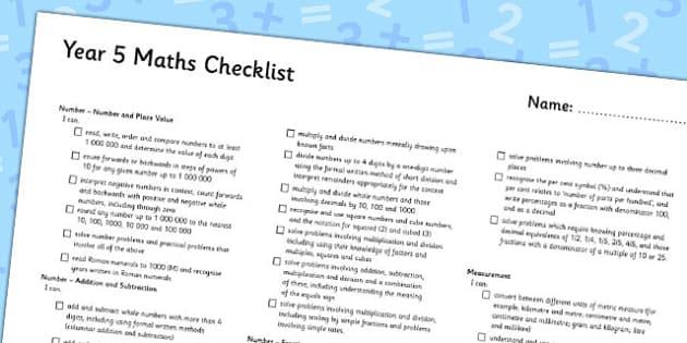 2014 Curriculum Year 5 Maths Assessment Checklist - numeracy, ks2