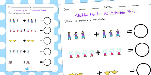 Aladdin Up to 10 Addition Sheet - maths, numeracy, adding, add