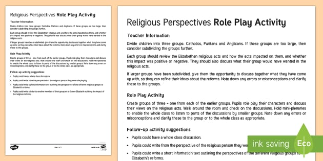 Religious Perspectives Role Play Activity - Elizabethan Religious Settlement, Catholic, Protestant, Anglican, Puritan, reforms, impact, perspect