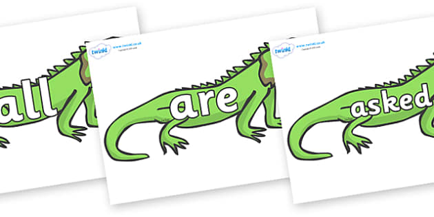 Tricky Words on Iguanas - Tricky words, DfES Letters and Sounds, Letters and sounds, display, words