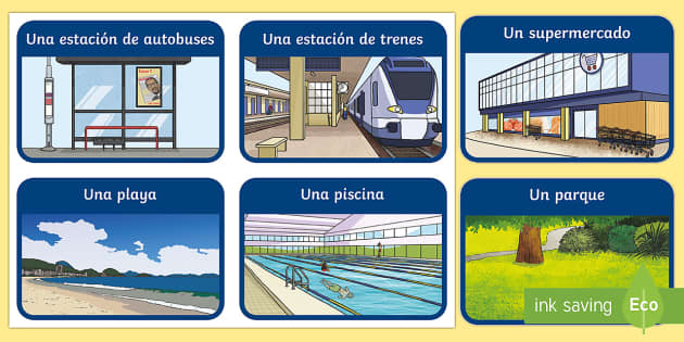 Places in Town Flashcards - Spanish KS2, places, town, village, city, flashcards, vocabulary
