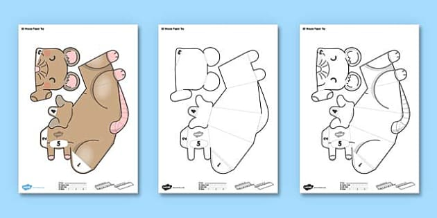 3D Mouse Paper Toy Printable - 3d mouse, paper toy, printable, paper model, paper craft, craft, paper, toy, activity