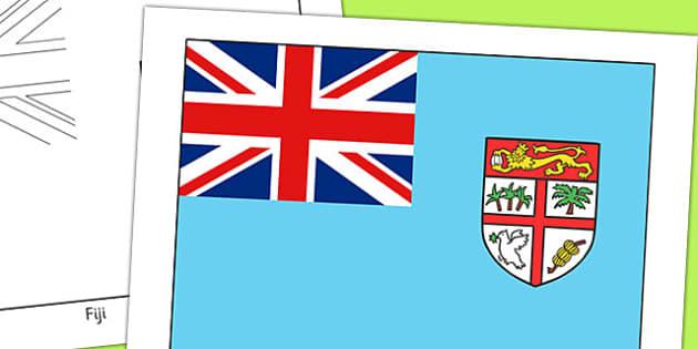 Fiji Flag Display Poster - geography, countries, display, fiji