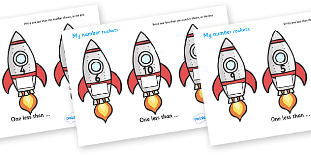 My Number Rockets (One Less) - Counting, Numeracy, One less than, Foundation, Calculation, Take Away, Rocket Resource