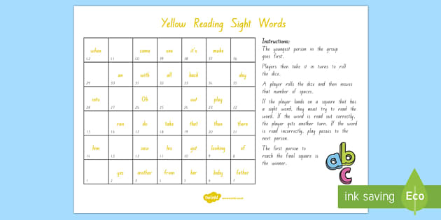 Yellow Reading Sight Words Board Game - Literacy, Reading, Yellow sight words, Colour Wheel, Sight Words