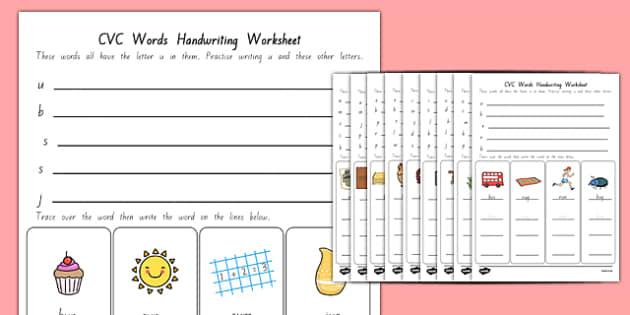 CVC Words Handwriting Worksheets New Zealand - nz, new zealand, cvc words, handwriting, worksheets, writing, write, cvc, words