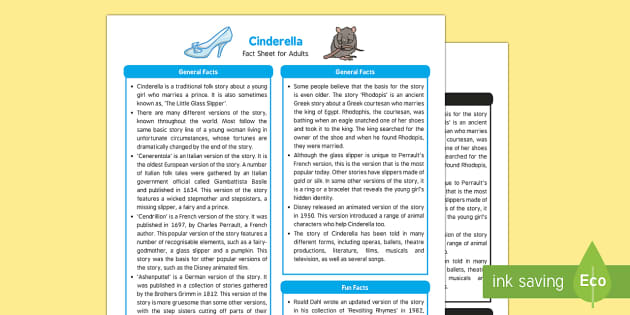 Cinderella Fact Sheet for Adults - EYFS, Early Years, KS1
