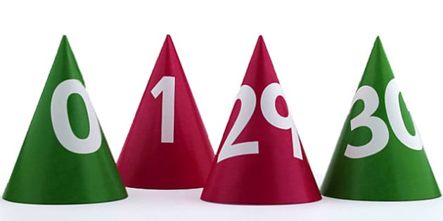 Number Cones 0 30 - count, counting aid, counting, numbers, maths