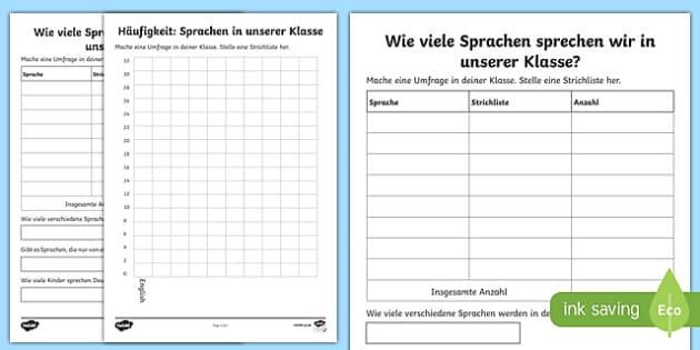 Sprachen in Unserer Klasse  Arbeitsblatt
