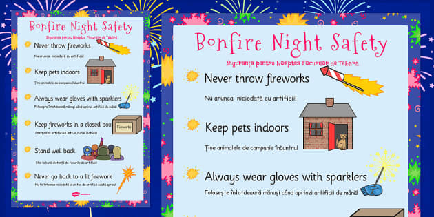 Bonfire Night Safety Posters Romanian Translation - romanian, bonfire night, safety