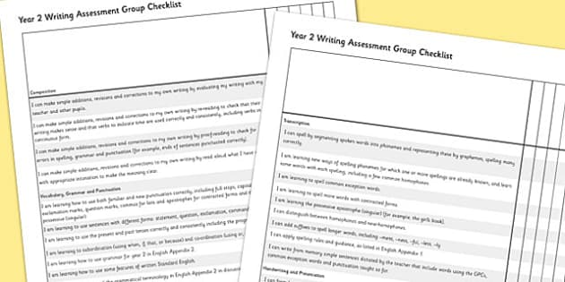 2014 Curriculum Year 2 English Writing Assessment Group Checklist