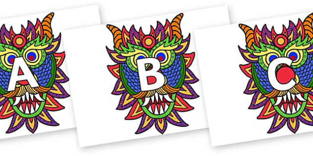 A-Z Alphabet on Chinese New Year Dragon Mask - A-Z, A4, display, Alphabet frieze, Display letters, Letter posters, A-Z letters, Alphabet flashcards
