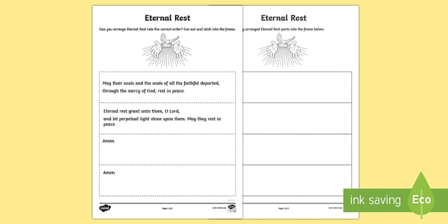 Eternal Rest Sequencing Activity-Scottish - CfE Catholic Christianity, prayers, mass responses, Eternal Rest,Scottish