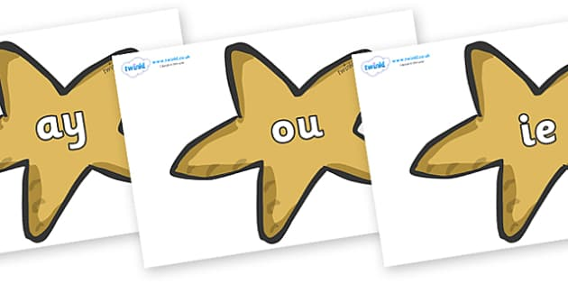 Phase 5 Phonemes on Starfish - Phonemes, phoneme, Phase 5, Phase five, Foundation, Literacy, Letters and Sounds, DfES, display