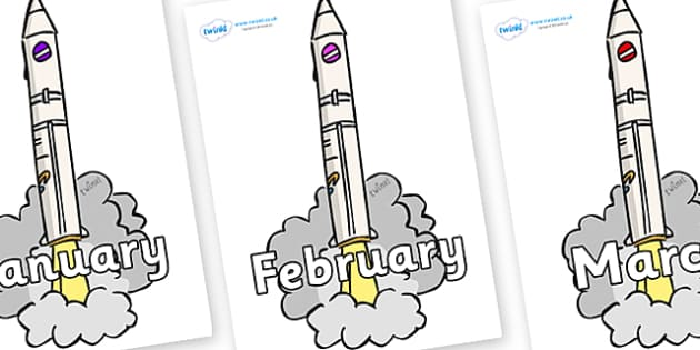 Months of the Year on Launching Rockets - Months of the Year, Months poster, Months display, display, poster, frieze, Months, month, January, February, March, April, May, June, July, August, September