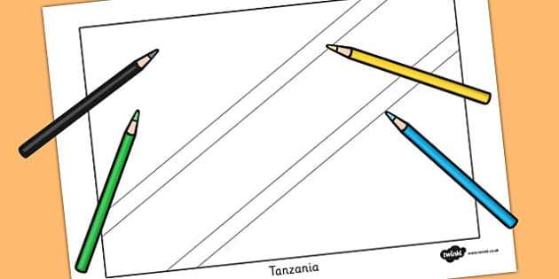 Tanzania Flag Colouring Sheet - countries, geography, flags