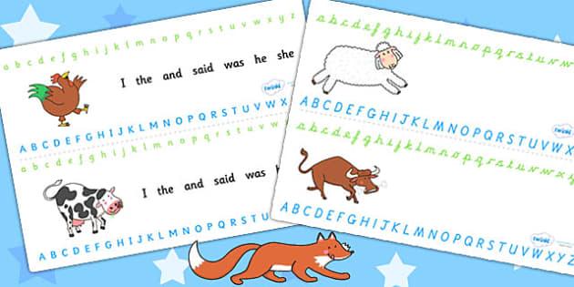 Alphabet Strips to Support Teaching on Farmyard Hullabaloo - farm, animals, alphabet
