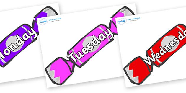 Days of the Week on Christmas Crackers (Multicolour) - Days of the Week, Weeks poster, week, display, poster, frieze, Days, Day, Monday, Tuesday, Wednesday, Thursday, Friday, Saturday, Sunday