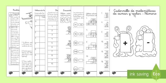 Sumas y restas Num. 4 Cuadernillo de matemáticas