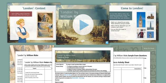 GCSE Poetry Lesson Pack to Support Teaching on 'London'by Charles Dickens