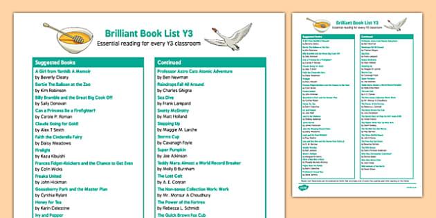 Brilliant Book List Y3 Checklist