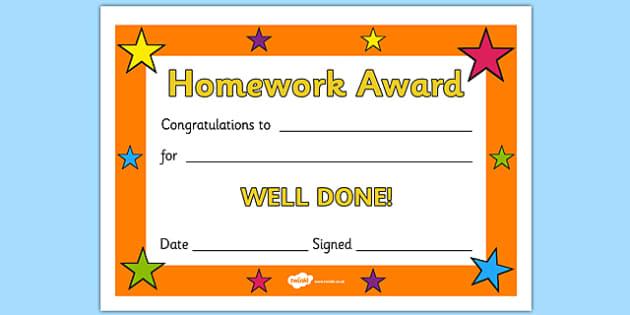 Editable Homework Award Certificate - Award, homework, reward, rewards, school reward, medal, good behaviour, award, good listener, good writing, good reading