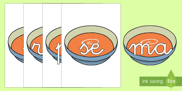Tarjetas de sílabas: Sopita - lecto, leer, primeros sonidos,