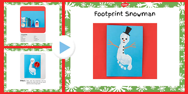 Footprint Snowman Craft Instructions PowerPoint - footprint, snowman, craft, instructions, powerpoint