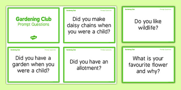 Elderly Care Gardening Club Prompt Questions - Elderly, Reminiscence, Care Homes, Gardening Club