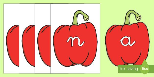 Tarjetas de fonemas: Pimientos rojos - lecto, leer, primeros sonidos