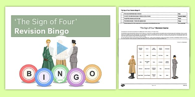 The Sign of Four Revision Bingo V1 - The Sign of Four, Prose, GCSE English Literature, Arthur Conan Doyle, Sherlock Holmes, AQA syllabus, Literary Heritage Text, Reading, 19th Century Fiction, games, BINGO