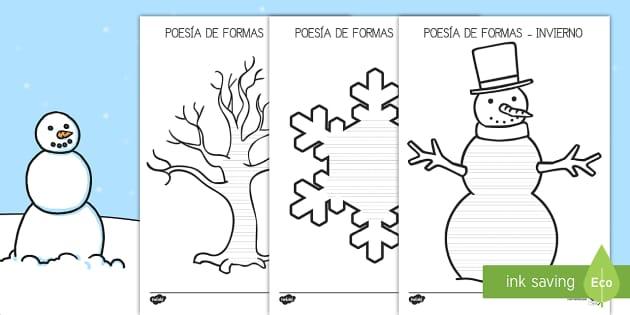 Poesía de formas: El invierno - escritura natural, escribir poesia, las estaciones, las estaciones del año,Spanish - escritura natural, escribir poesia, las estaciones, las estaciones del año,Spanish