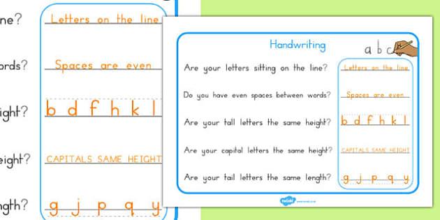 Handwriting Reminder Sheets - australia, handwriting, reminder, sheets, writing