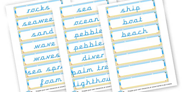 Seaside Flashcards - The Seaside Literacy Primary Resources, beach, sun, sand