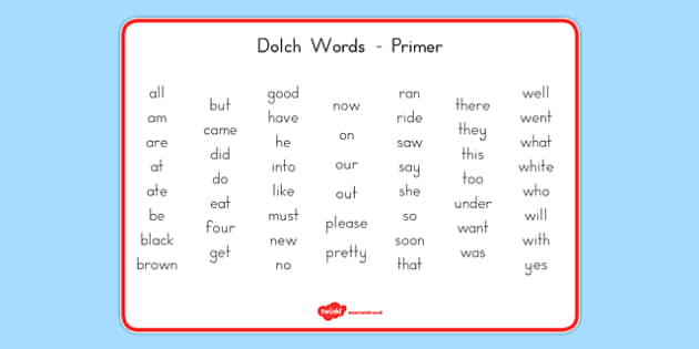 Dolch Words Word Mat Primer - usa, dolch, words, word mat, word, mat, primer