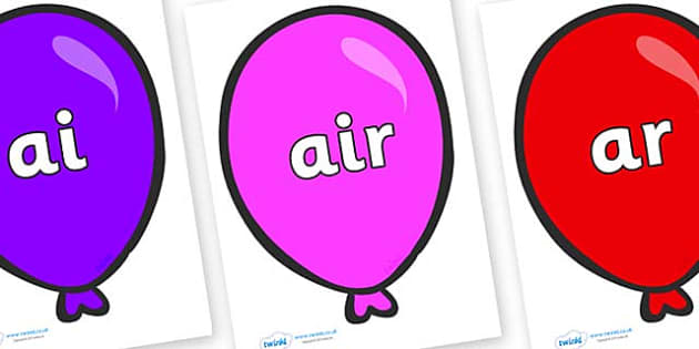 Phase 3 Phonemes on Party Balloons - Phonemes, phoneme, Phase 3, Phase three, Foundation, Literacy, Letters and Sounds, DfES, display