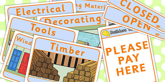 Builders Yard Role Play Signs - builders yard, role-play, signs
