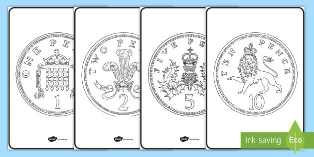British (UK) Coins Colouring Sheets - british, colouring  money,