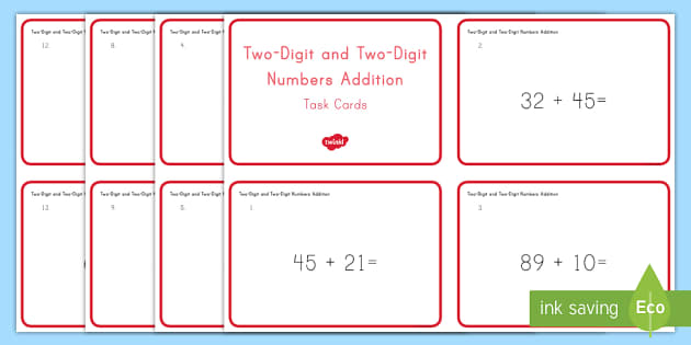 Common Core First Grade Math NBT C 4 Two-Digit Plus Two-Digit Addition Task Cards - Common Core, Two digit addition, Number and Operations in Base Ten