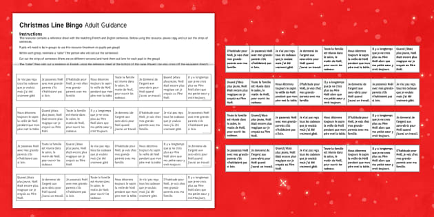 Christmas Line Bingo French - Christmas, French, Noël, bingo, loto, game, jeu, jouer,French