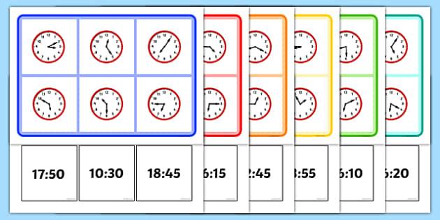 Time Bingo Five Minutes - time, bingo, five minutes, games, activities