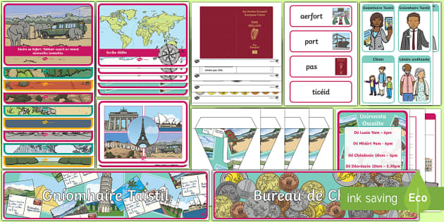 Travel Agents Aistear Pack Gaeilge - Aistear, Infants, English Oral Language, School, The Garda Station, The Hairdressers, The Airport, T