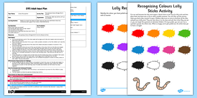Recognising Colours Wriggly Worm EYFS Adult Input Plan and Resource Pack - EYFS planning, early years activities