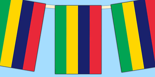Mauritius Flag Display Bunting - countries, geography, display