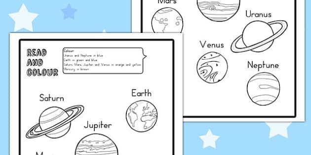 Planet Read and Colour Worksheet - australia, planet, colour