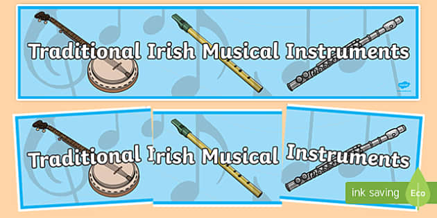 Traditional Irish Musical Instruments Display Banner-Irish