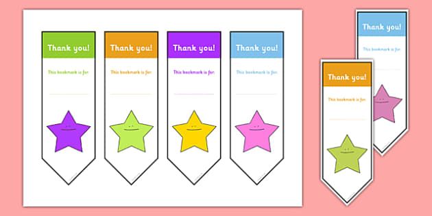 Editable Thank You bookmark - Bookmark, bookmark template,  gift,  present, book, reward, achievement